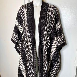 Ecote Grey Black Stripe Boho Poncho Cardigan XS